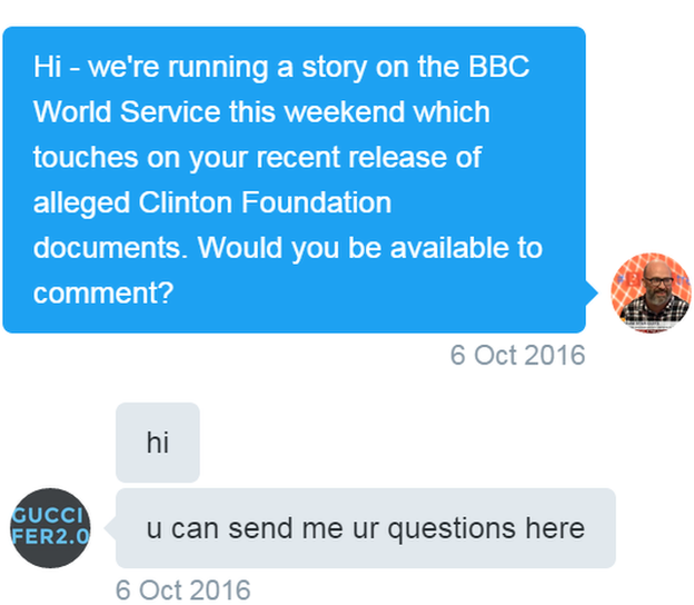 Tweets: Reporter: We're doing a story about you this weekend on the BBC World Service. Would be great to hear your thoughts. Hacker: hi. u can send me your questions here