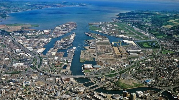 Aerial picture of Belfast and its harbour