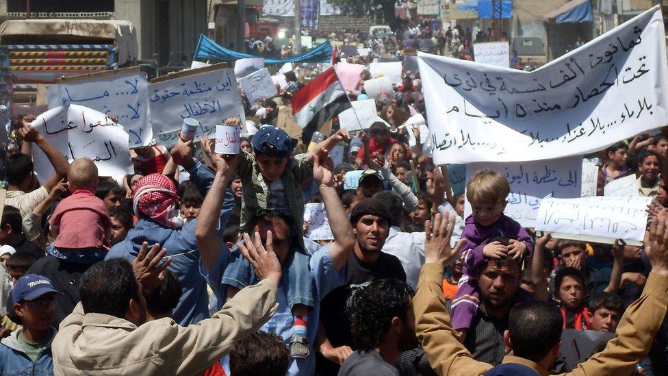 Protestas en Deraa.