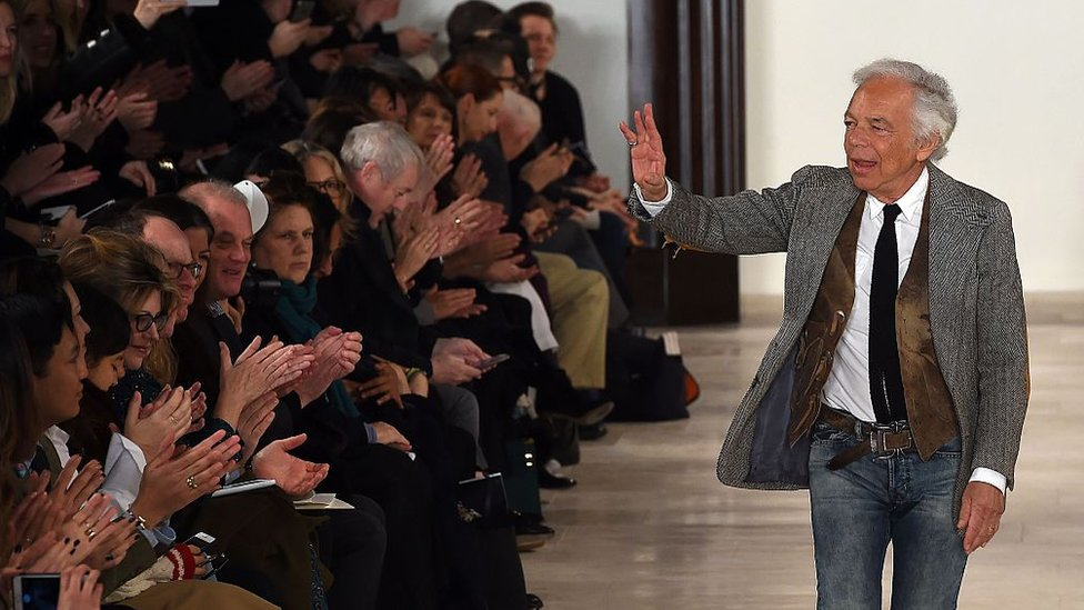 Designer Ralph Lauren appears at the New York Fashion Week runway show