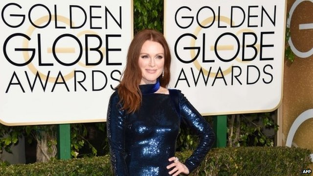 Julianne Moore arrives for the Golden Globe awards