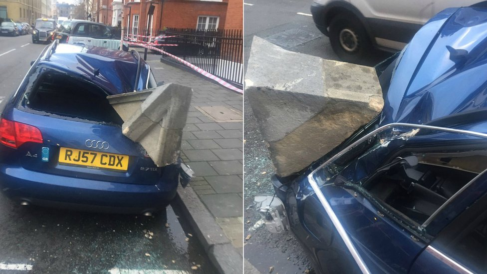 Car hit by masonry in Storm Eleanor