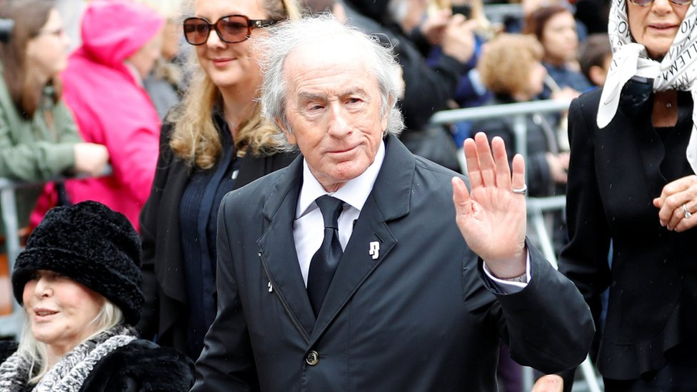 Former Formula 1 driver Sir Jackie Stewart arrives to attend Niki Lauda's funeral ceremony at St Stephen's cathedral in Vienna, Austria