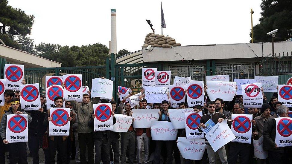 Protesta ante el reactor de investigación de Teherán