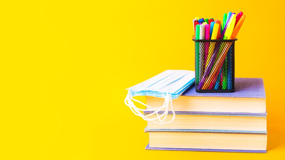 Pila de libros con mascarilla y marcadores.