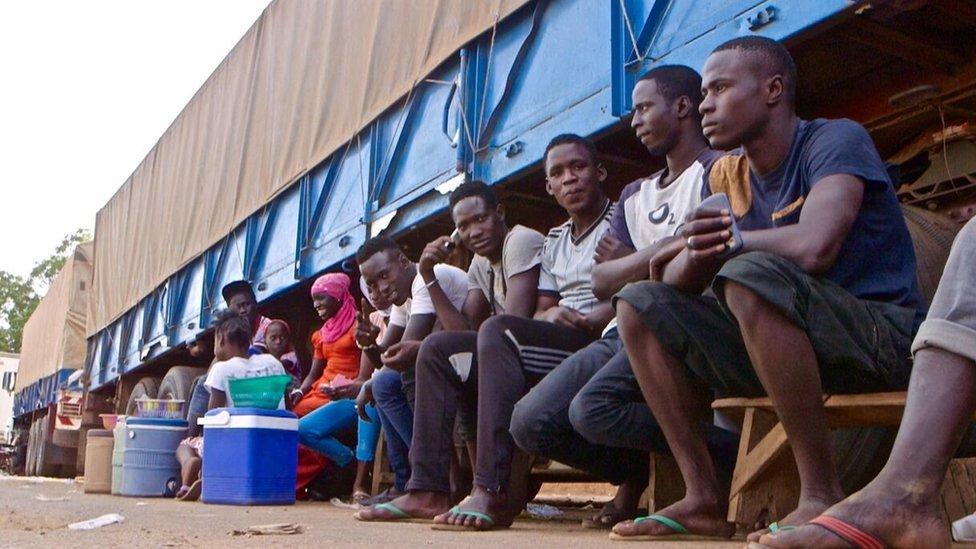 People at Senegal-Gambia border