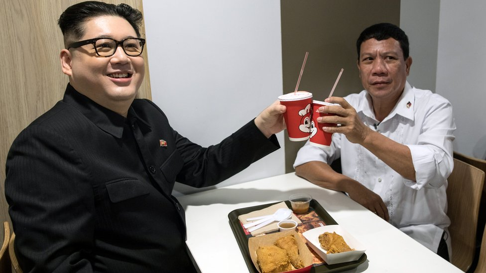 Impersonators Howard X (L) and Cresencio Extreme in Hong Kong, China, 3 February 2019