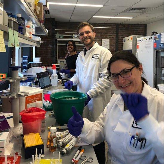 Personas trabajan en un laboratorio