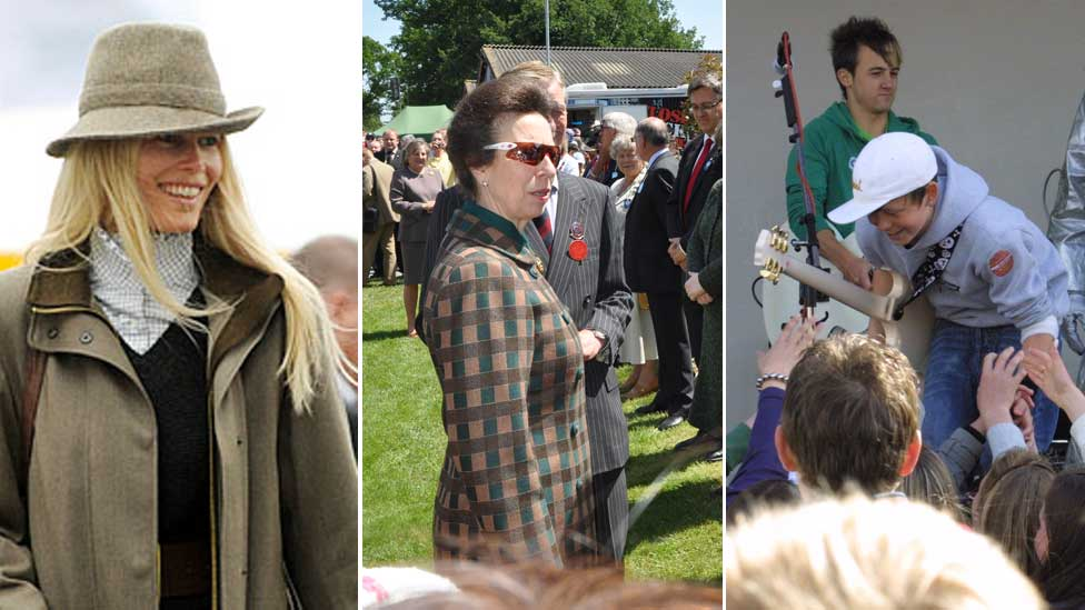 Claudia Schiffer, Princess Anne and Chris Hardman at the Suffolk Show