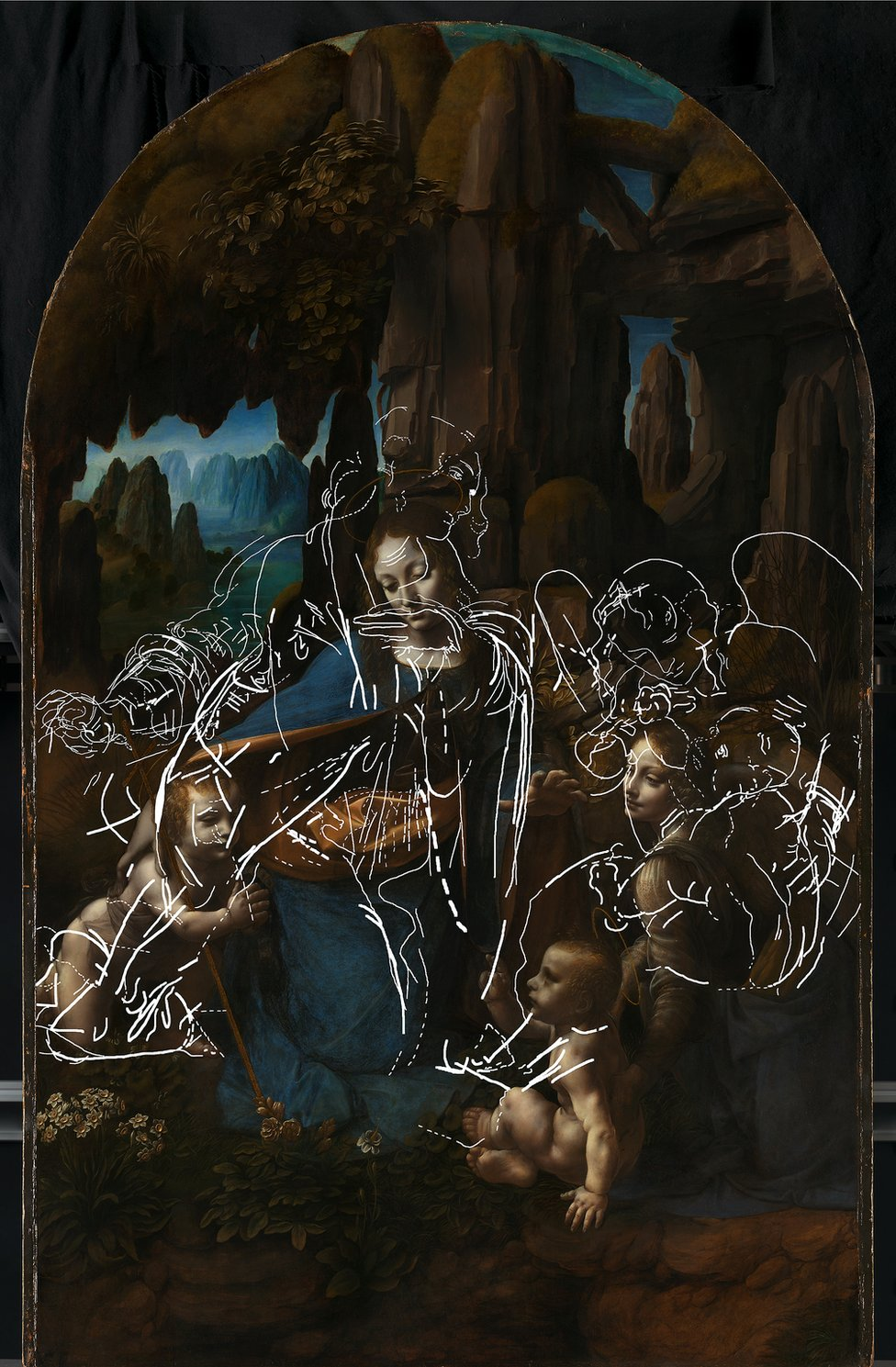 Scientific research at the National Gallery led to the discovery of this drawing underneath The Virgin of the Rocks