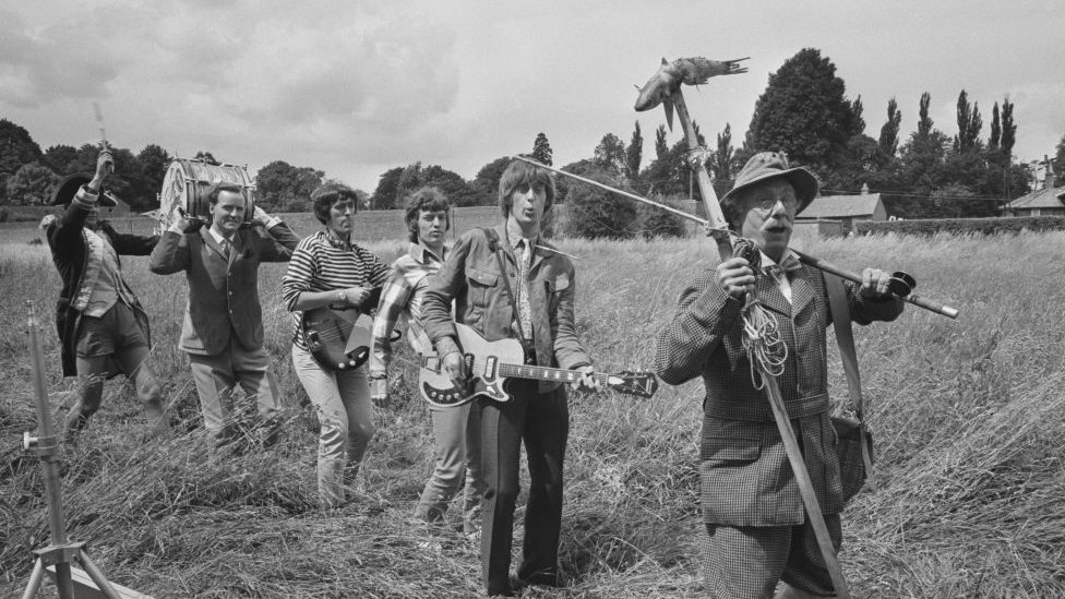 The Spencer Davis Group - and Nicholas Parsons - in their 1966 comedy musical The Ghost Goes Gear