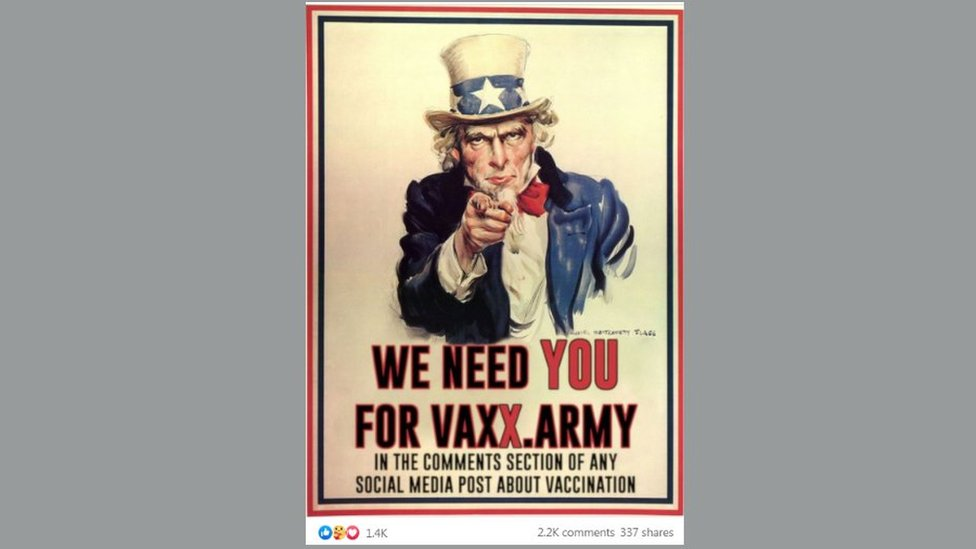 Pro-vaccination meme pastiche of Uncle Sam recruiting poster with the slogan