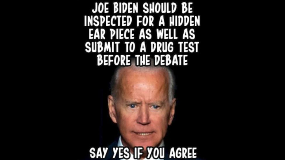 Meme of Biden about secret earpiece