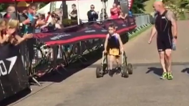 Bailey Matthews at the end of the triathlon