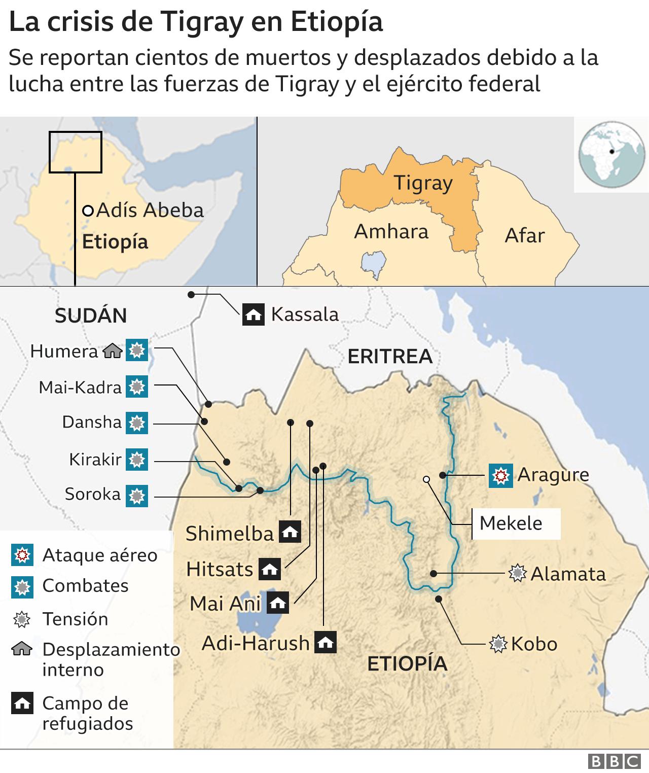 Mapa conflicto en Etiopía