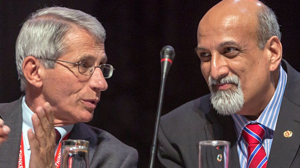 Anthony Fauci (L) and Salim Abdool Karim (R) at an HIV conference in Durban in July 2016