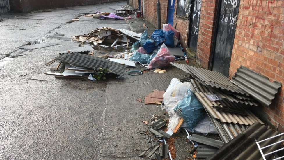 Asbestos dumped in Back Broadway, Liverpool