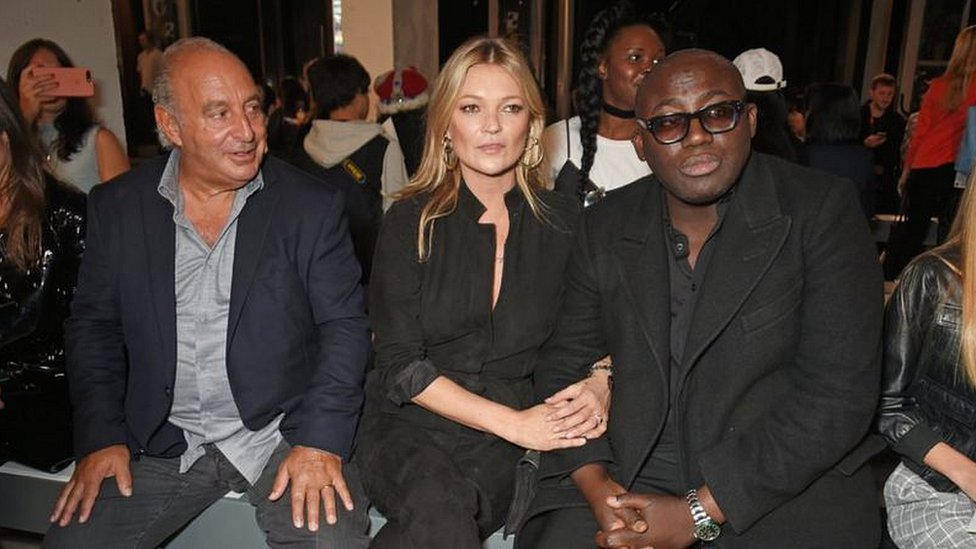 Sir Philip, model Kate Moss and Edward Enninful,