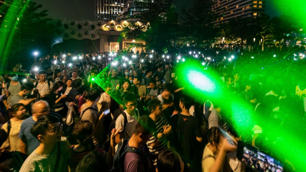 Protesters using laser pointers during a demonstration