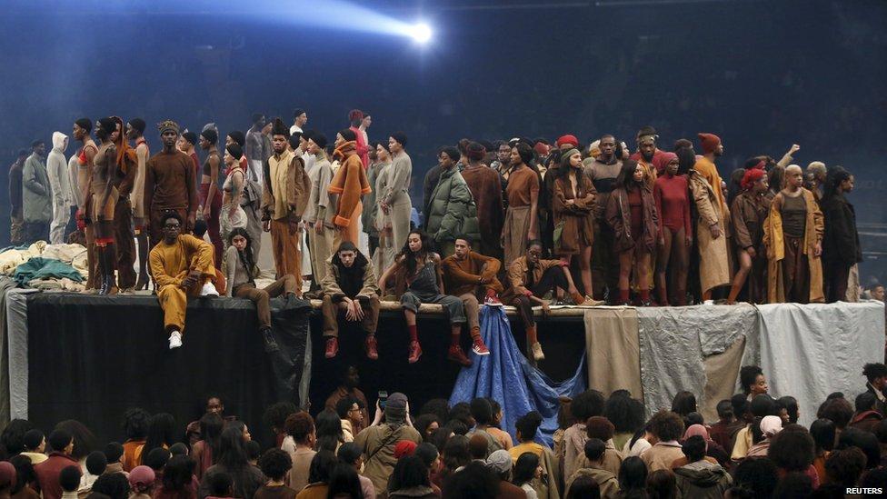 Models at Kanye West's album launch