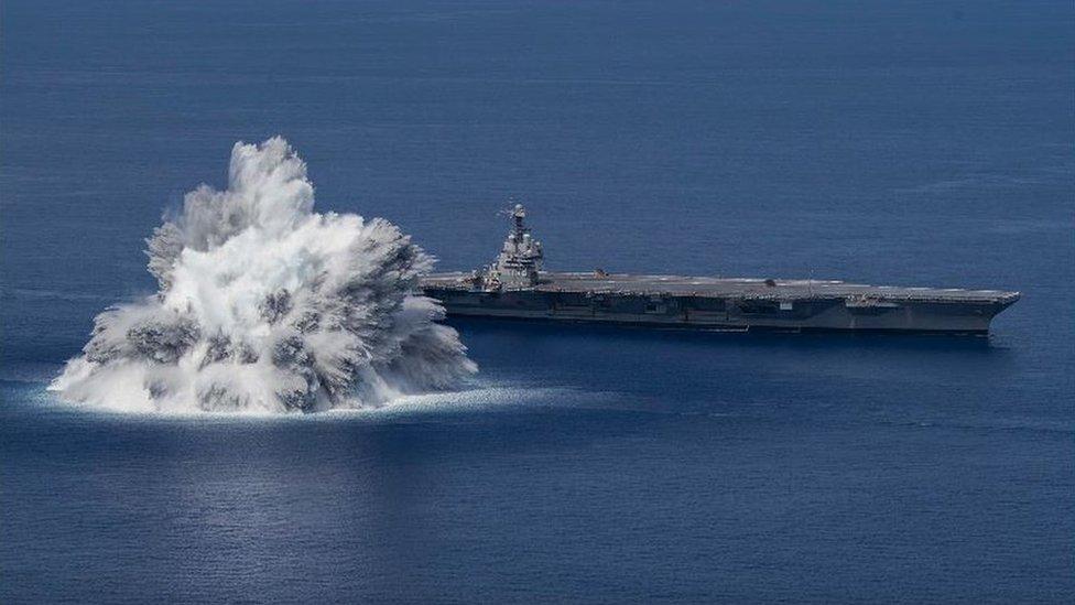 40,000lb explosion near USS Gerald R Ford aircraft carrier