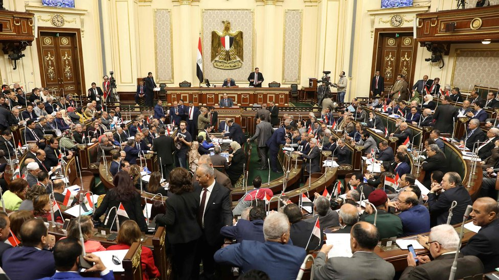 جلسة البرلمان المصري قبل التصويت على التعديلات