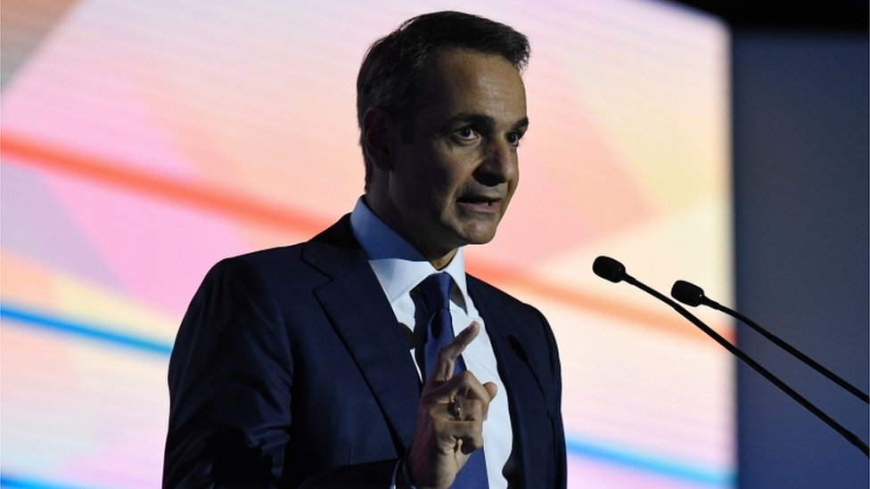 "Greek Prime Minister Kyriakos Mitsotakis delivers his annual speech on the state of the country""s economy, in Thessaloniki, Greece"