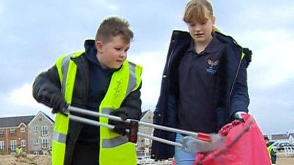 The children tackling plastic beach waste
