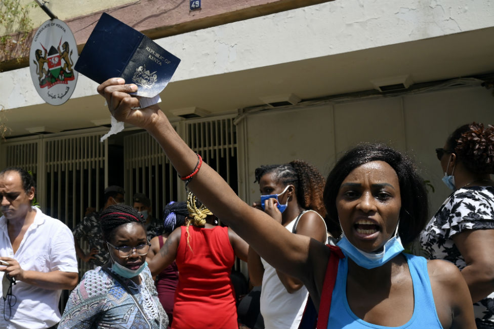 Kenyan workers protest outside their consulate in Beirut, Lebanon.
