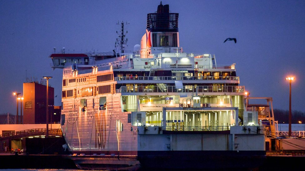 Ferry moored at Calais file pic