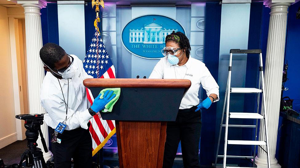 去年春季開始白宮經常消毒、清潔
