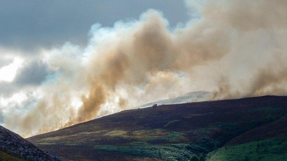 Smoke rising from Denbighshire moorland fires