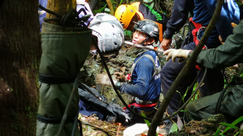 Rescue workers attempt to drill a hole to access the Tham Luang Nang Non cave in northern Thailand