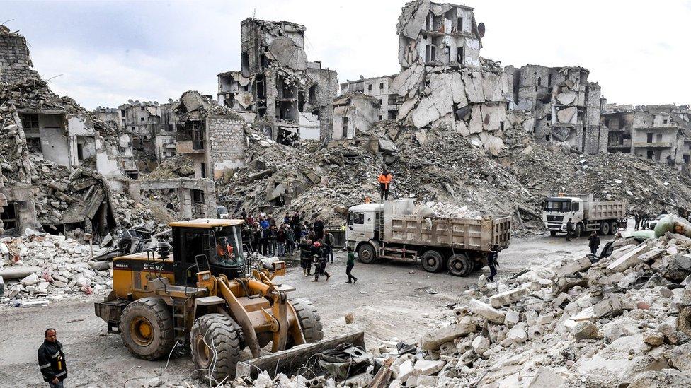 collapsed Aleppo block