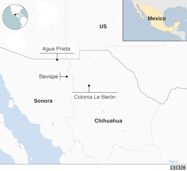 Map showing location of ambush on US-Mexican Mormons in November 2019