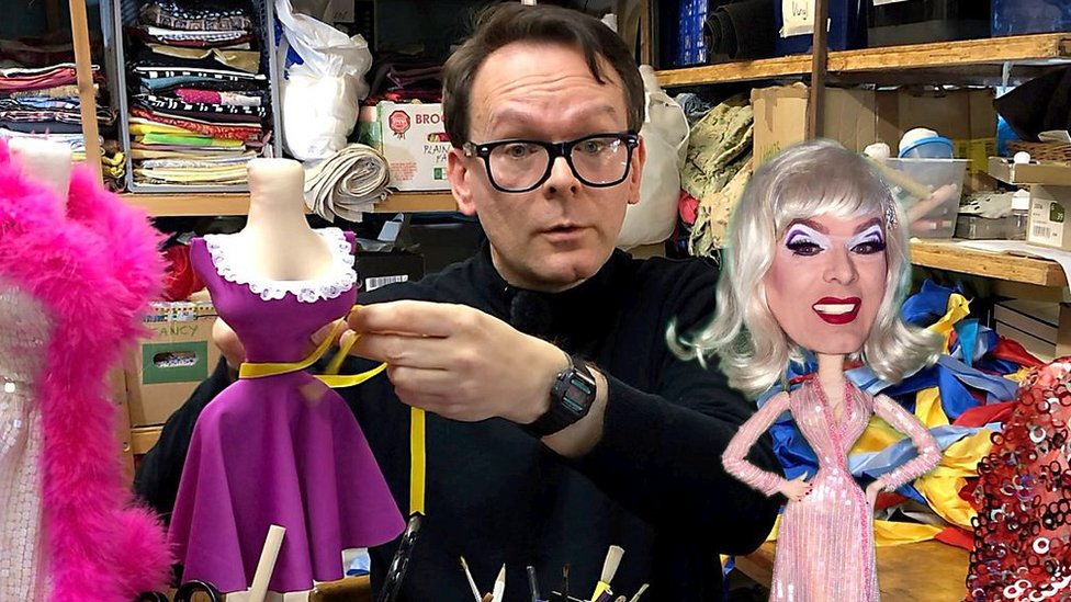 Sewing couture for Norwich puppet 'diva' Clementine
