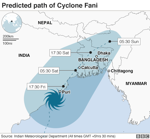 Map of Cyclone Fani