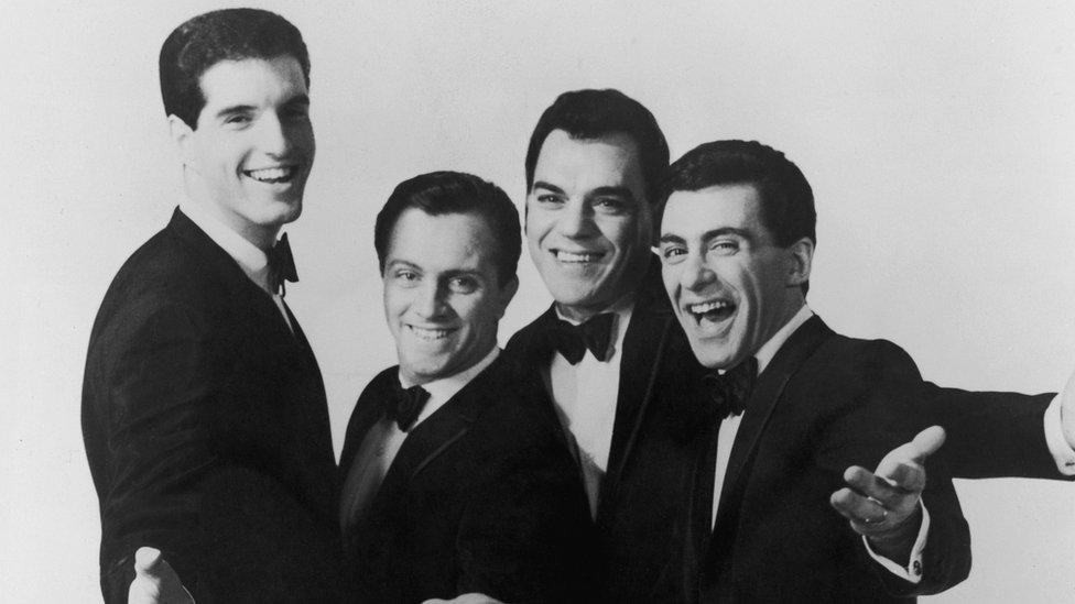The Four Seasons, circa 1963. Left to right: Bob Gaudio, Tommy DeVito, Nick Massi (1935 - 2000) and Frankie Valli.