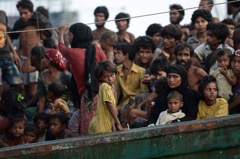 Rohingya migrants on a boat. File photo