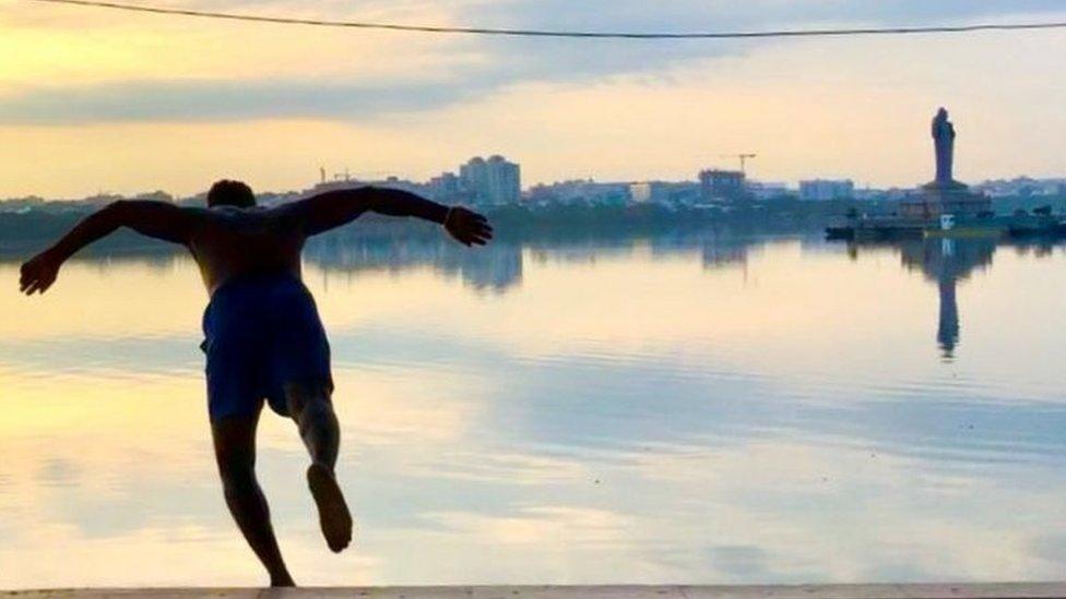 Shiva jumping into the lake