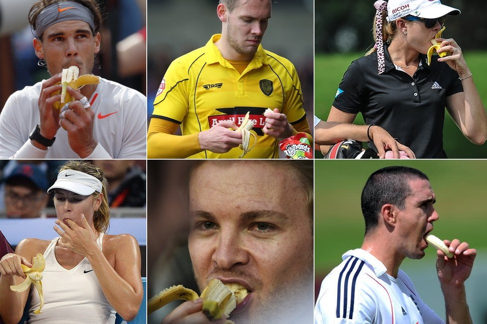 Numerous sports people eat bananas