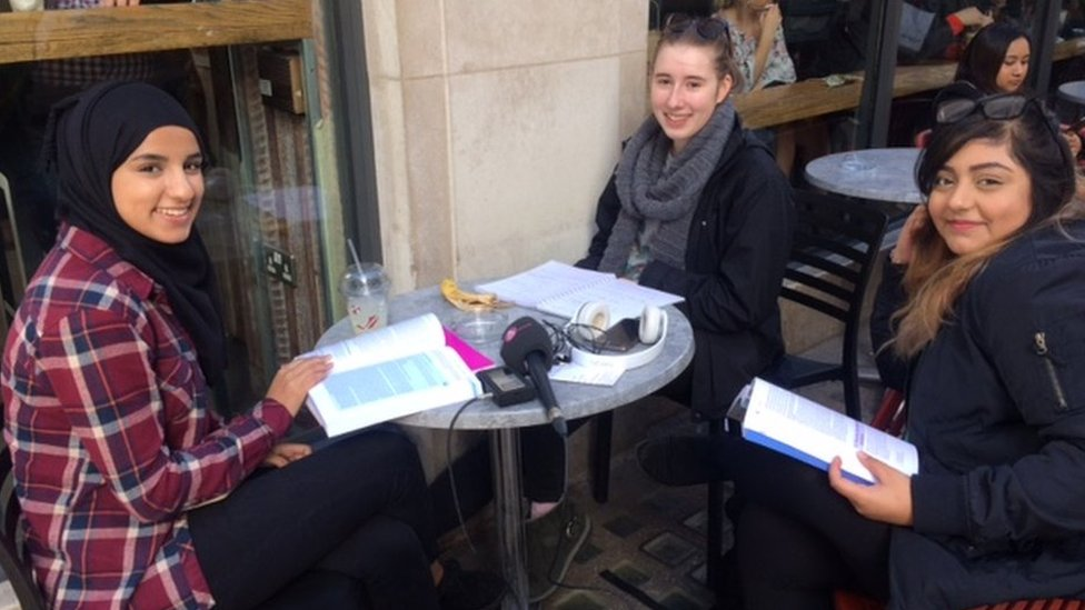 Nina, Clare and Innes, students on their lunch break
