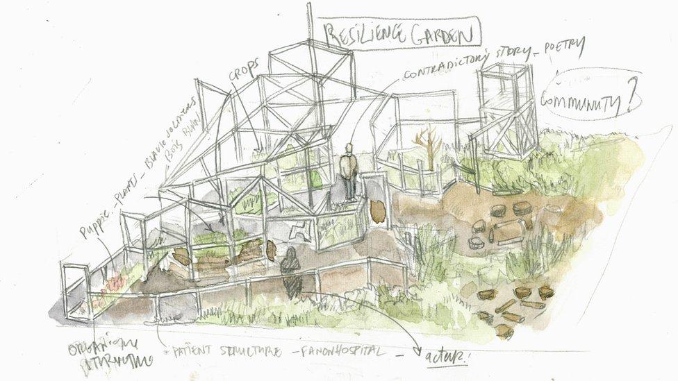 Mohamed Bourouissa, Resilience Garden (sketch), 2018