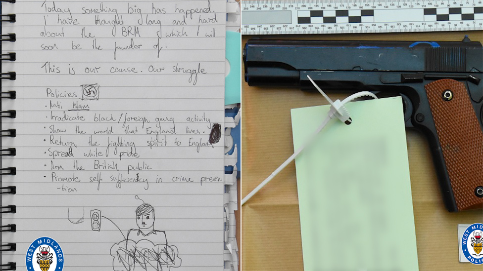 Notebook and gun recovered from the teenager's room