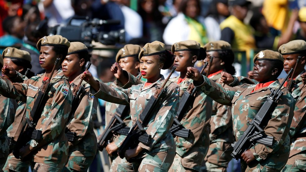 Soldiers paraded at the inauguration