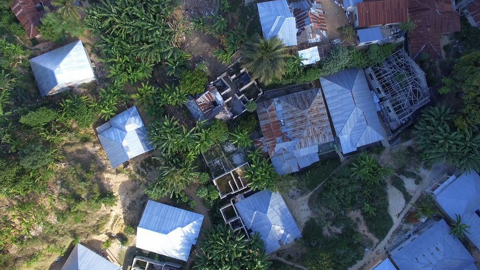 Aerial shot of housing settlement