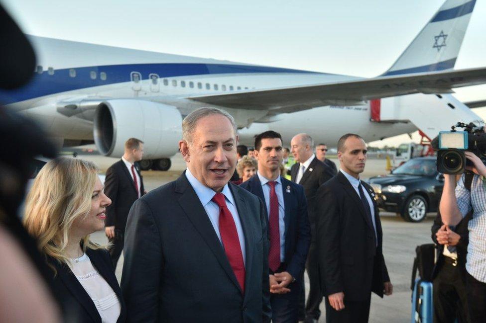 Israeli Prime Minister Benjamin Netanyahu and his wife, Sara, arrive at Sydney Airport