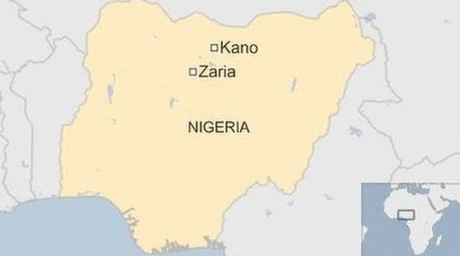 Map showing Kano and Zaria