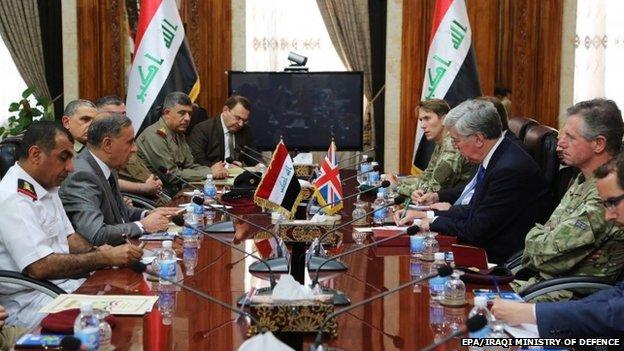 Iraqi Minister of Defence, Khalid al-Obaidi meets with British counterpart, Defence Secretary Michael Fallon