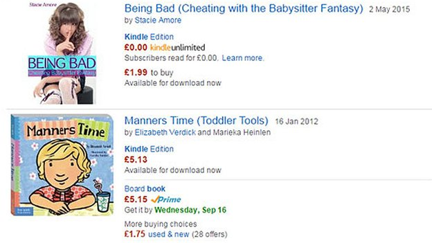 Amazon screen grab of sexually explicit literature next to books for children